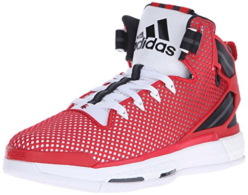 adidas Performance Men's D Rose 6 Boost Basketball,White/Scarlet/Black,10.5 M US