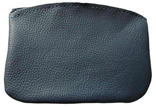 AimTrend Men's Large Leather Zippered Coin Pouch Change Purse Holder, Navy