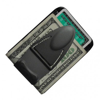 Black Mesh Geneva Money Clamp w/leather wallet--Designer Series w/RFID leather wallet; The Best Money Clip You Can Own