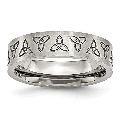 Chisel Stainless Steel Engraved Trinity Symbol Brushed 6mm Band Ring SR52