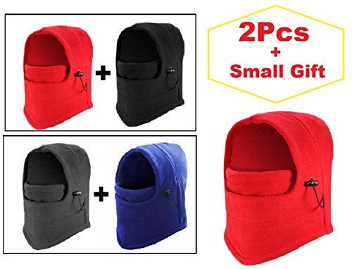 2-PC Multifunction Warmer Balaclava Ski Sport Wind Stopper Face Mask & Neck Warmer + 1 Small gift (Black + Red)