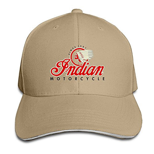 101dog Indian Brand Motorcycles Unisex Adjustable Sandwich Bill Cap Natural