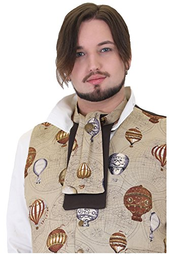 Altissimo Mens Brown Steampunk Hot Air Balloons floating Over Maps Cravat Jabot