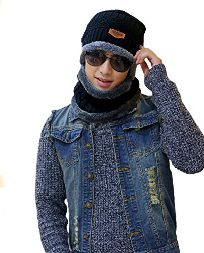 Men's Winter Knit Slouchy Beanie Hat and Neck Gaiter 2 Piece Set Black