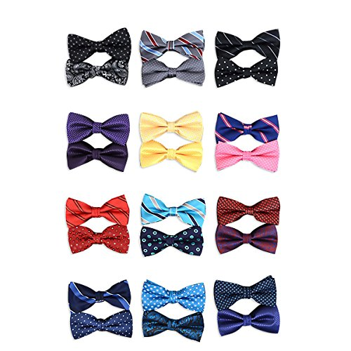 12pc Two Pack Assorted Solid & Fancy Banded Bow Tie Duo Sets