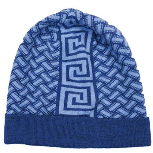 Versace VHB0608 0001 Blue Knitted Beanie Wool Hat