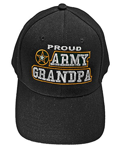 Proud Army Grandpa Baseball Cap Black U.S. Army Star Hat Grandfather