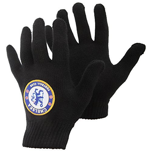 Chelsea FC Mens Official Football Crest Knitted Winter Gloves (One Size) (Black)