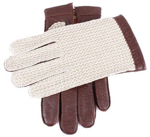 English Tan Cotswold Cotton Crochet Back Driving Gloves by Dents - Extra Large