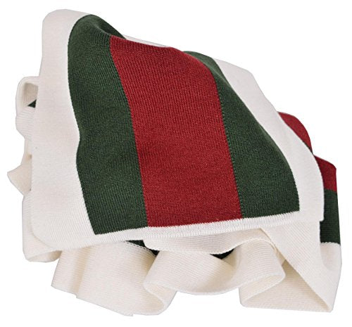 Gucci Wool Silk Red Green Web Stripe Scarf Muffler (White)