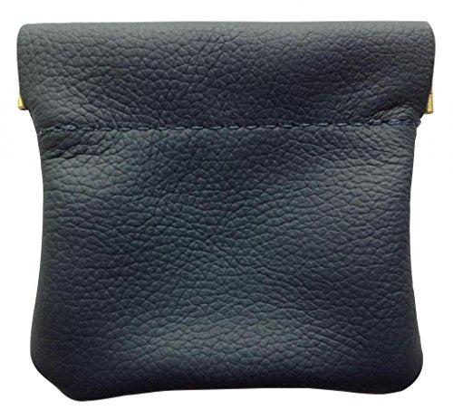 AimTrend Men's Leather Squeeze Coin Pouch Change Holder, Navy