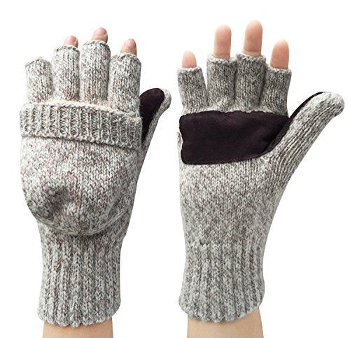 Korlon Wool Knitted Convertible Fingerless Gloves with Mitten Cover, Beige