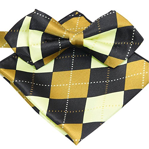 ST34 Brand new Silk feel SATIN Argyle Check Adjustable Bow tie for Men Pocket square SET-Various Colors (BB-1299 Gold and Black)