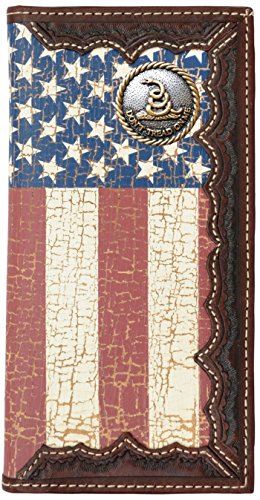 Custom Don't Tread On Me American Flag Long Wallet with a Distressed United States Flag