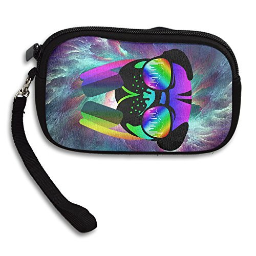 Velocitee DJ Pug Dog Colourful Neon Music Clubbing Zipper Change Purse Coin Wallet Card Holder With Key Ring Portable Purse Pouch Bag