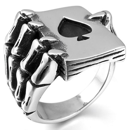 INBLUE Men's Stainless Steel Ring Silver Tone Black Ace of Spades Poker Card Skull Hand Size8