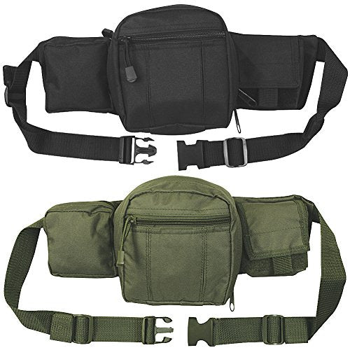 (Set/2) Tactical Fanny Packs Conceal Guns, Personal Items - Black and Olive