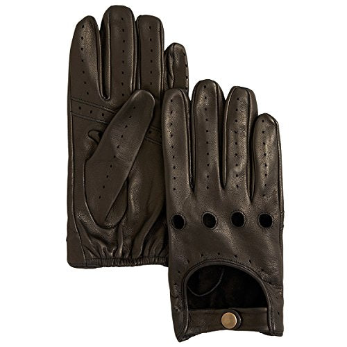 Bloomingdale's Men's Perforated Leather Driving Gloves, Black (Large)
