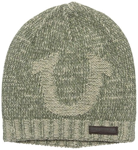 True Religion Men's Distressed Horseshoe Beanie, Army, One Size