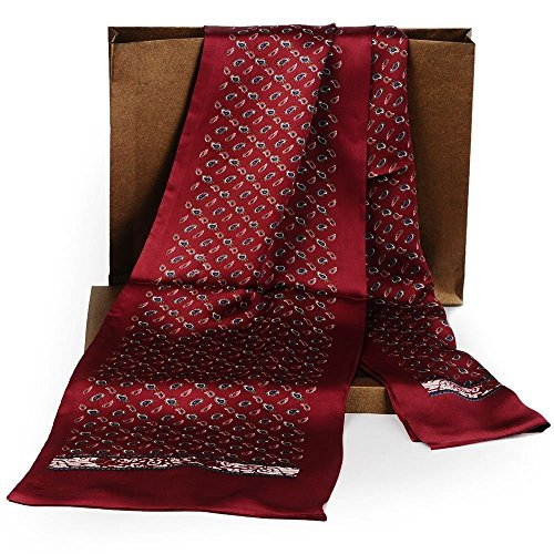 Fashion Mens 100% Silk Long Scarf/Cravat Scarives Double Layer Red
