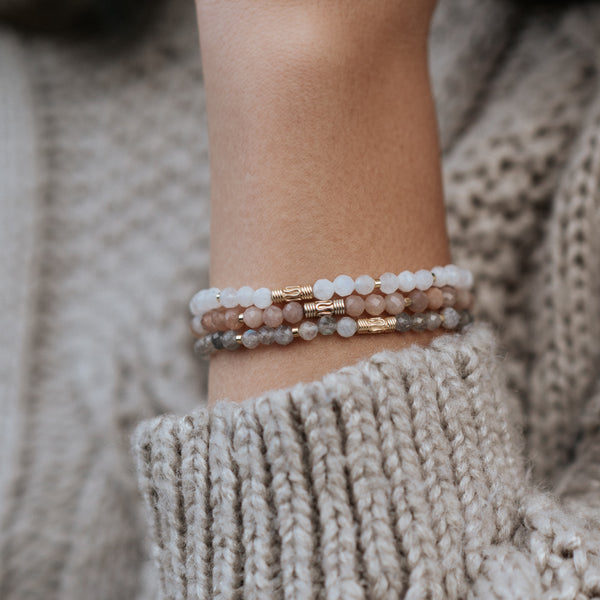 Labradorite, Sunstone and Moonstone Stack | Venezia - Lia Lubiana
