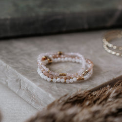 Rose Quartz, Sunstone, and Moonstone Stack | Venezia - Lia Lubiana