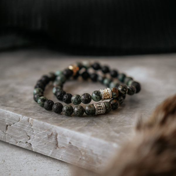 African Turquoise & Lava Fuji | Sterling Silver - Lia Lubiana