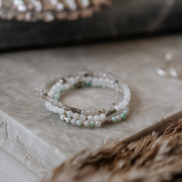 Amazonite, Labradorite and Moonstone Stack | Venezia - Lia Lubiana