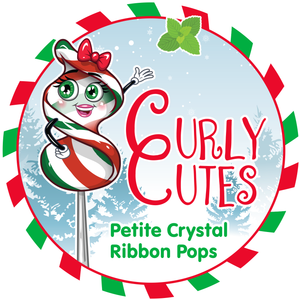 CurlyCutes Petite Ribbon Pops - Christmas Peppermint: 20-Piece Jar