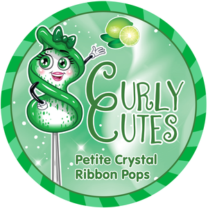CurlyCutes Petite Crystal Ribbon Pops - Green Lime: 20-Piece Jar