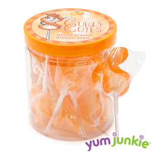 CurlyCutes Petite Crystal Ribbon Lollipops - Orange: 20-Piece Jar