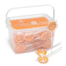 Orange Swirl Lollipops with Clear Plastic Sticks