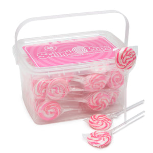 Pink Swirl Lollipops with Clear Plastic Sticks