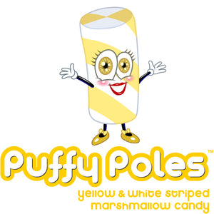 Yellow Puffy Poles Marshmallow Candy