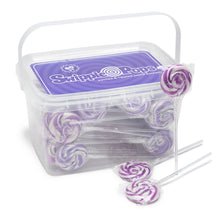 Purple Swirl Lollipops with Clear Plastic Sticks