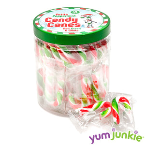Mini Candy Canes - Red, Green, and White: 45-Piece Jar