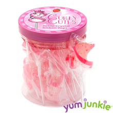 CurlyCutes Petite Crystal Ribbon Pops - Pink Strawberry: 20-Piece Jar