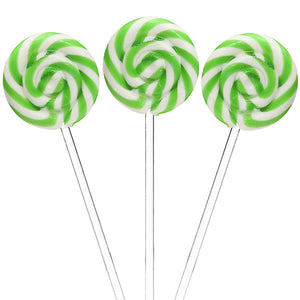 Green Swirl Lollipops with Clear Plastic Sticks