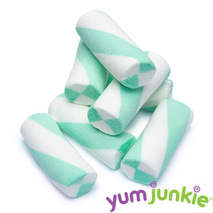 Teal Puffy Poles Marshmallow Candy