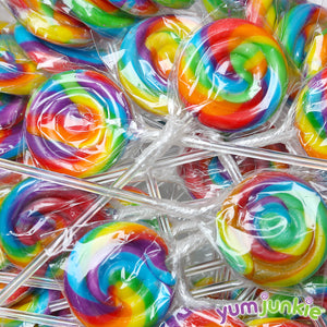 Rainbow Swirl Lollipops with Clear Plastic Sticks