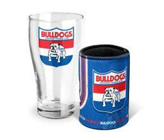 AFL Shop Western Bulldogs pint glass and can cooler set