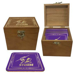 NRL Shop Melbourne Storm coasters in wooden box
