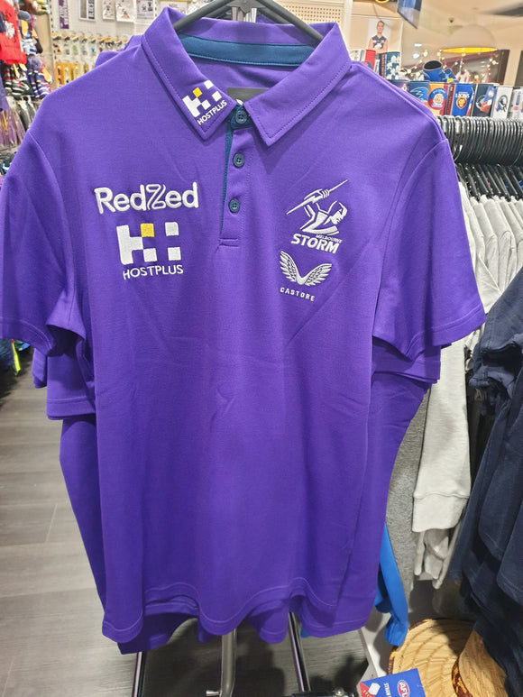 2021 Melbourne Storm Media Polo Purple Mens Castore - Coach