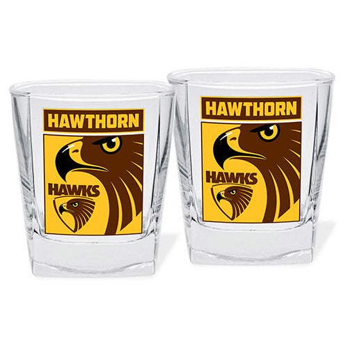 Hawthorn Hawks Printed Spirit Glass Twin Pack