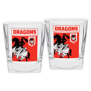 St George Dragons Printed Spirit Glass Twin Pack