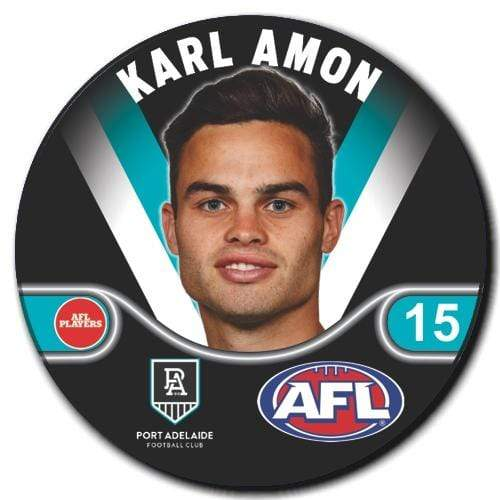 Footy Plus More badge and Magnet AMON Port Adelaide Power Player Badge