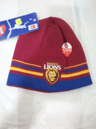 Footy Plus More BEANIE Brisbane Lions reversible beanie