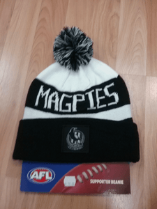 Footy Plus More BEANIE Collingwood Magpies Bar Beanie
