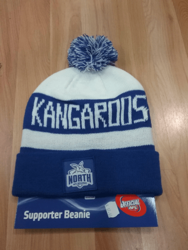 Footy Plus More BEANIE North Melbourne Kangaroos Bar Beanie