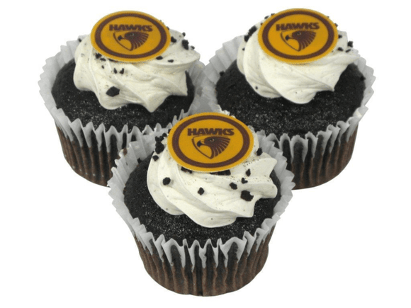 Footy Plus More CAKE DECORATIONS Hawthorn Hawks Edible Cup Cake Icing Image